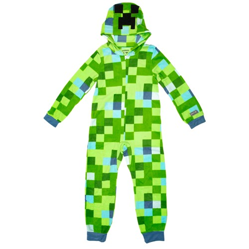 Photo of Minecraft Charged Creeper Hooded Union Suit Youth Pajamas