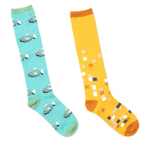 Photo of Minecraft Ocelot and Fish Girl's Knee High Socks, 2-Pack