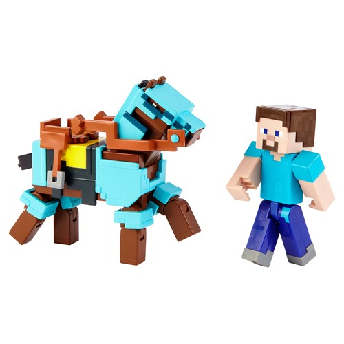 Photo of Minecraft Steve and Armored Horse Comic Maker Action Figure Set